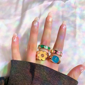 🤍 y2k Colorful Ring Set